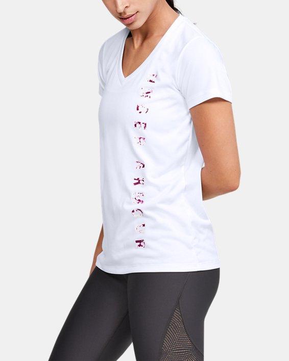 Women's UA Velocity Graphic V-Neck Short Sleeve, White, pdpMainDesktop image number 3