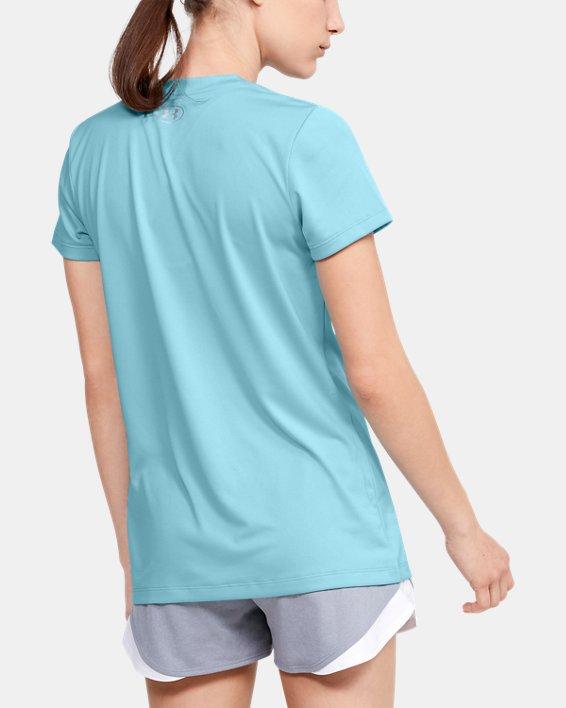Women's UA Velocity Graphic V-Neck Short Sleeve, Blue, pdpMainDesktop image number 2