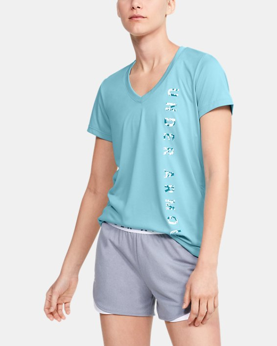 Women's UA Velocity Graphic V-Neck Short Sleeve, Blue, pdpMainDesktop image number 1