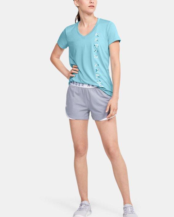 Women's UA Velocity Graphic V-Neck Short Sleeve, Blue, pdpMainDesktop image number 0