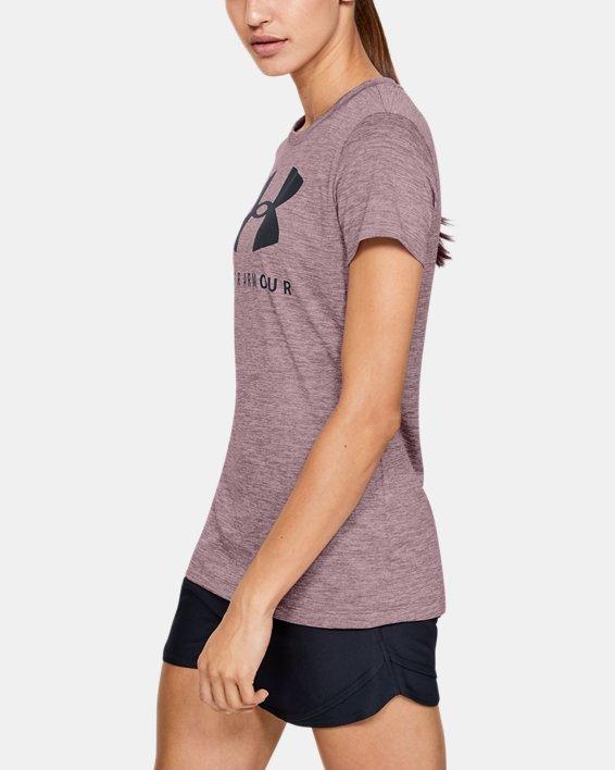 Women's UA Tech™ Logo Graphic Twist Short Sleeve Crew, Pink, pdpMainDesktop image number 3