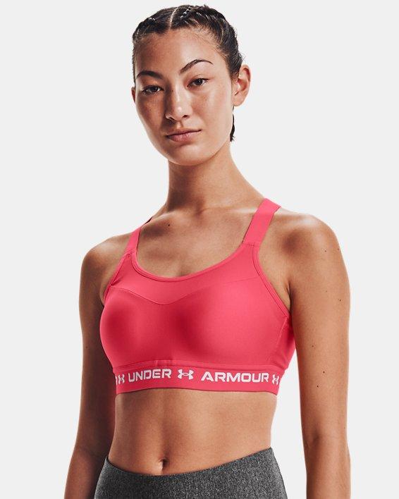 Damen Armour® High Crossback Sport-BH, Pink, pdpMainDesktop image number 0