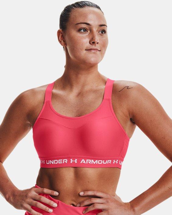 Damen Armour® High Crossback Sport-BH, Pink, pdpMainDesktop image number 2