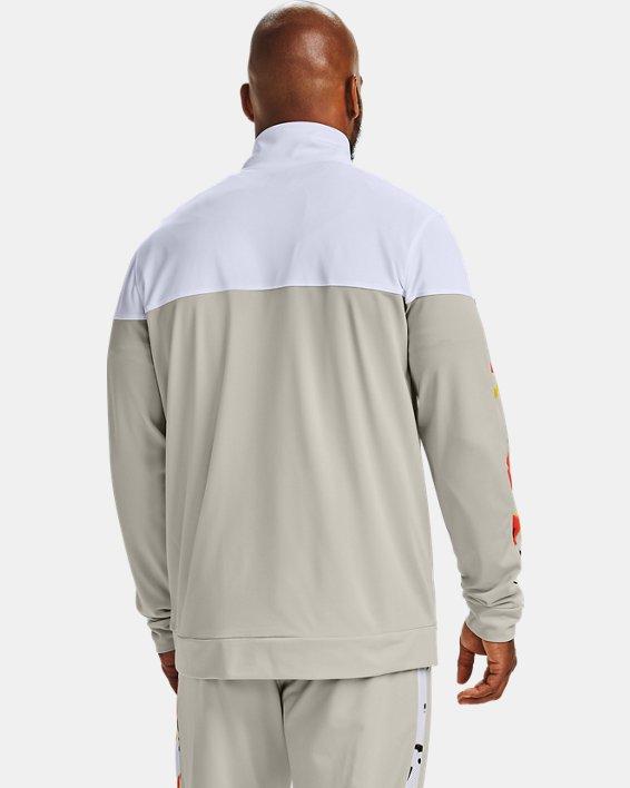 Men's UA Sportstyle Pique Upstream Camo Track Jacket, White, pdpMainDesktop image number 3