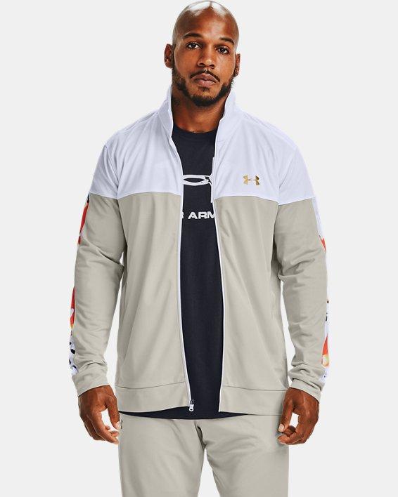 Men's UA Sportstyle Pique Upstream Camo Track Jacket, White, pdpMainDesktop image number 2