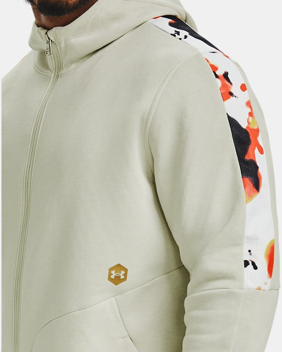 Men's UA RECOVER™ Fleece Upstream Camo Full Zip, White, pdpMainDesktop image number 3