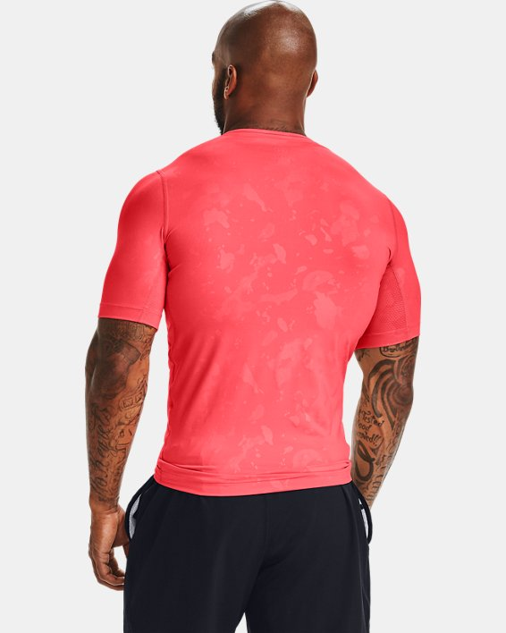 Men's UA RUSH™ HeatGear® Compression Upstream Camo Short Sleeve, Red, pdpMainDesktop image number 2