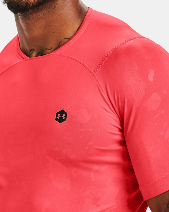 Men's UA RUSH™ HeatGear® Compression Upstream Camo Short Sleeve, Red, pdpMainDesktop image number 5
