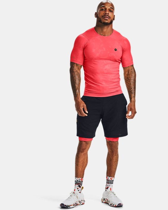 Men's UA RUSH™ HeatGear® Compression Upstream Camo Short Sleeve, Red, pdpMainDesktop image number 1