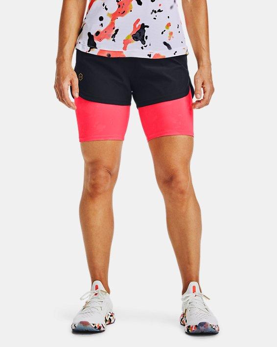 Women's UA RUSH™ Run Upstream Camo 2-in-1 Shorts, Black, pdpMainDesktop image number 1