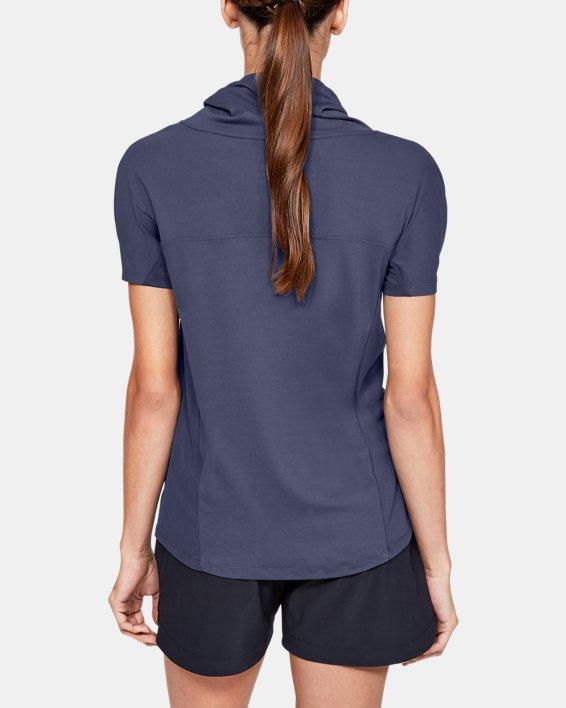 Women's UA Iso0Chill Cowl Neck Short Sleeve, Blue, pdpMainDesktop image number 2
