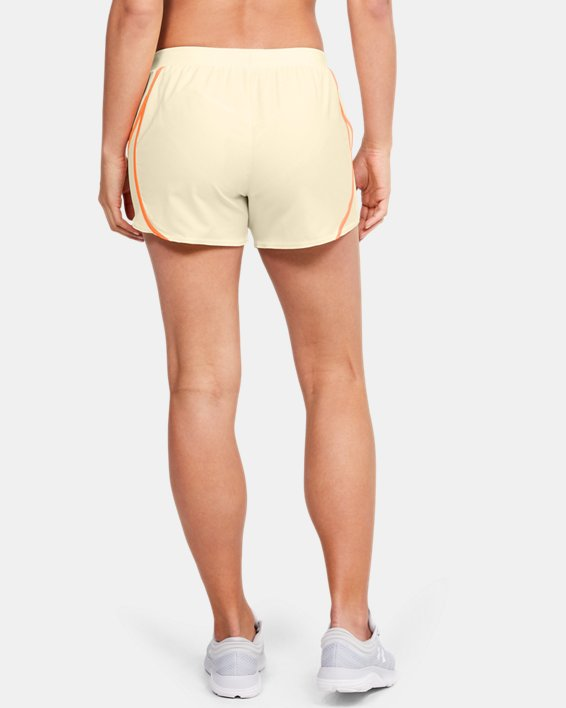 Women's UA Mileage 2.0 Shorts, Yellow, pdpMainDesktop image number 2