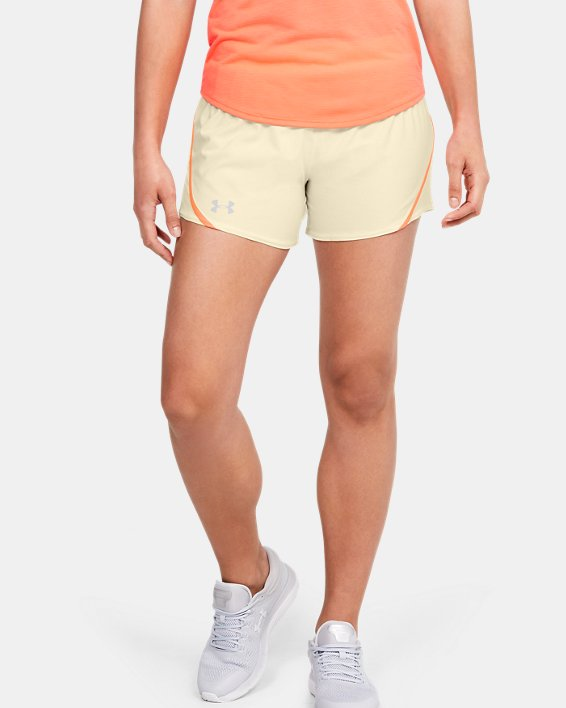 Women's UA Mileage 2.0 Shorts, Yellow, pdpMainDesktop image number 0