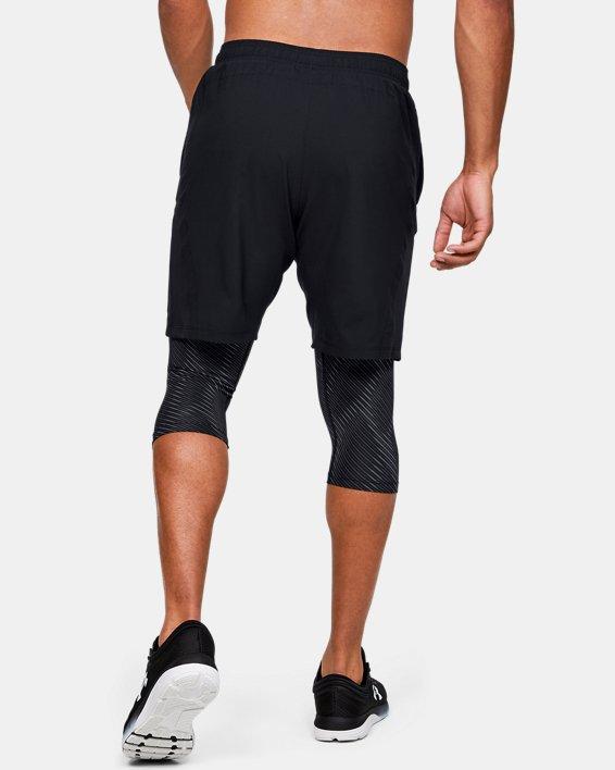 Men's UA Launch SW Long 2-in-1 Printed Shorts, Black, pdpMainDesktop image number 2