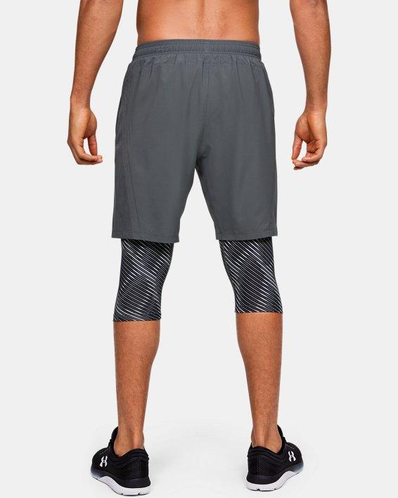 Men's UA Launch SW Long 2-in-1 Printed Shorts, Gray, pdpMainDesktop image number 2