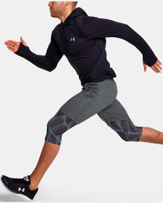 Men's UA Launch SW Long 2-in-1 Printed Shorts, Gray, pdpMainDesktop image number 1