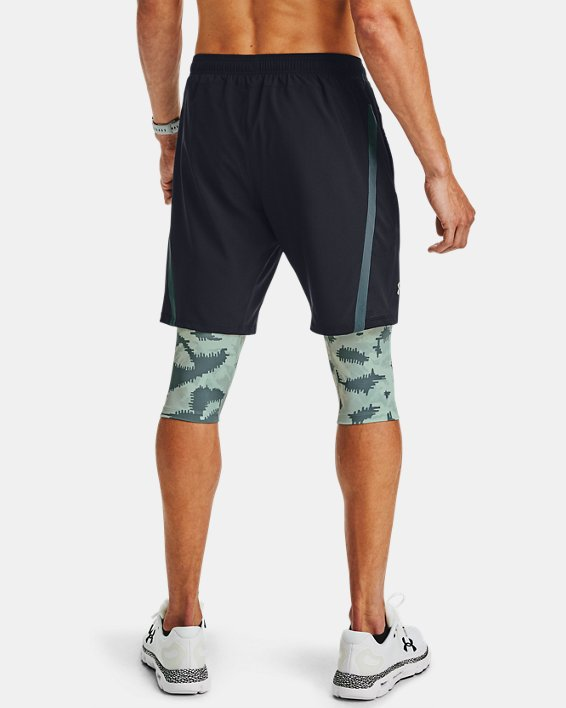 Men's UA Launch SW Long 2-in-1 Printed Shorts, Blue, pdpMainDesktop image number 2