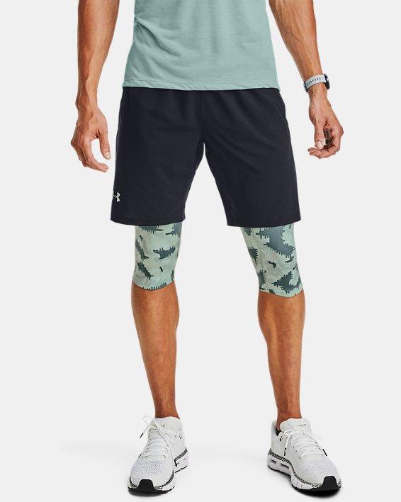 Men's UA Launch SW Long 2-in-1 Printed Shorts, Blue, pdpMainDesktop image number 0