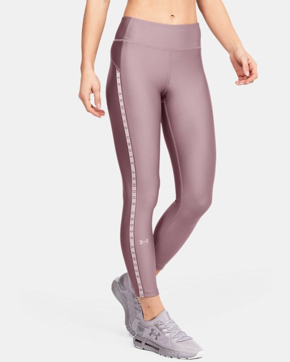 Women's HeatGear® Armour Vertical Branded Ankle Crop, Pink, pdpMainDesktop image number 0