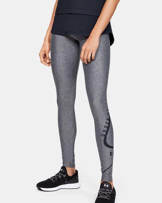 Women's HeatGear® Armour Graphic Swerve Wordmark Leggings, Gray, pdpMainDesktop image number 1
