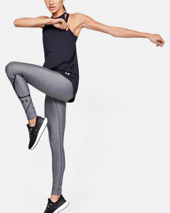 Women's HeatGear® Armour Graphic Swerve Wordmark Leggings, Gray, pdpMainDesktop image number 0