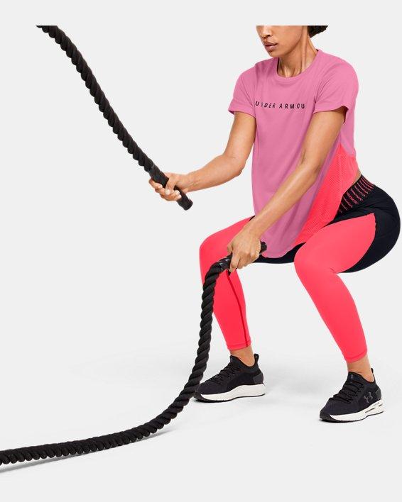 Women's HeatGear® Armour Sport Mesh Panel Short Sleeve, Pink, pdpMainDesktop image number 1