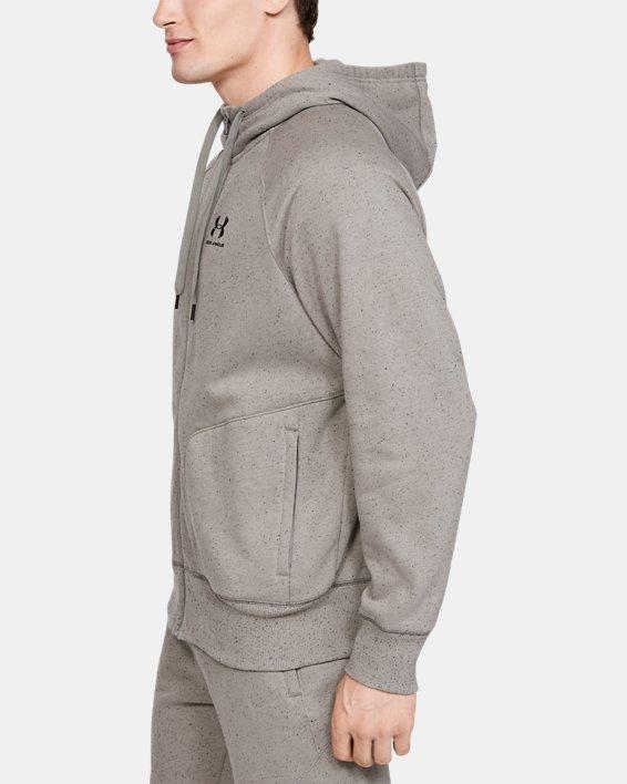 Men's UA Speckled Fleece Full Zip Hoodie, Green, pdpMainDesktop image number 3