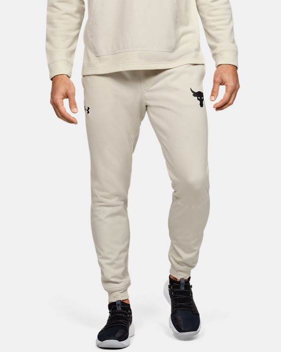 Men's Project Rock Terry Joggers, White, pdpMainDesktop image number 0