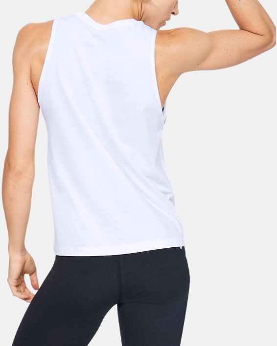 Women's UA Sportstyle Graphic Muscle Tank, White, pdpMainDesktop image number 2