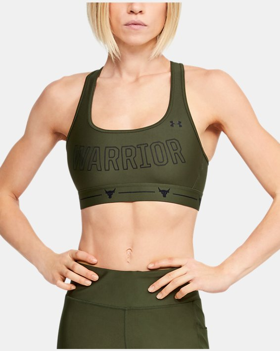 Women's Project Rock Armour® Mid Crossback Warrior Sports Bra, Green, pdpMainDesktop image number 0