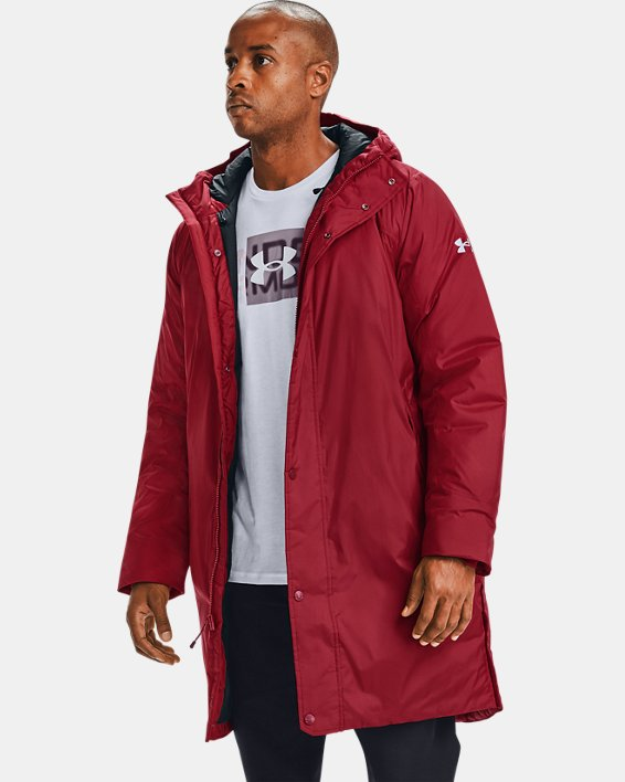 Men's UA Armour Insulated Bench Coat, Red, pdpMainDesktop image number 0