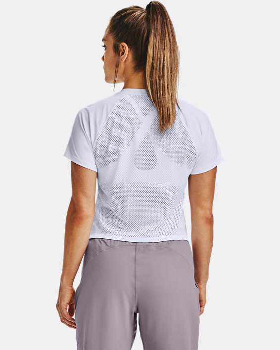 Women's UA Armour Sport Hi-Lo Short Sleeve, White, pdpMainDesktop image number 2