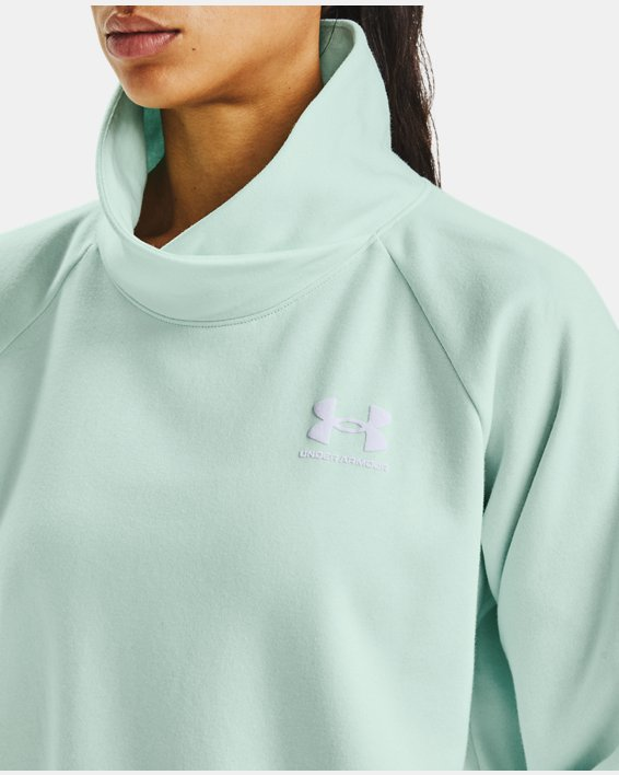 Women's UA Rival Fleece Wrap Neck, Blue, pdpMainDesktop image number 5