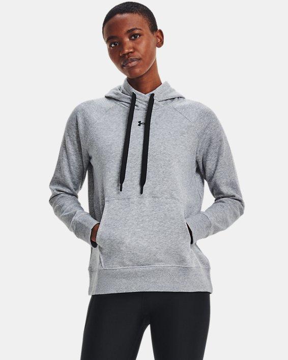 Sudadera con capucha de tejido Fleece UA Rival HB para mujer, Gray, pdpMainDesktop image number 1