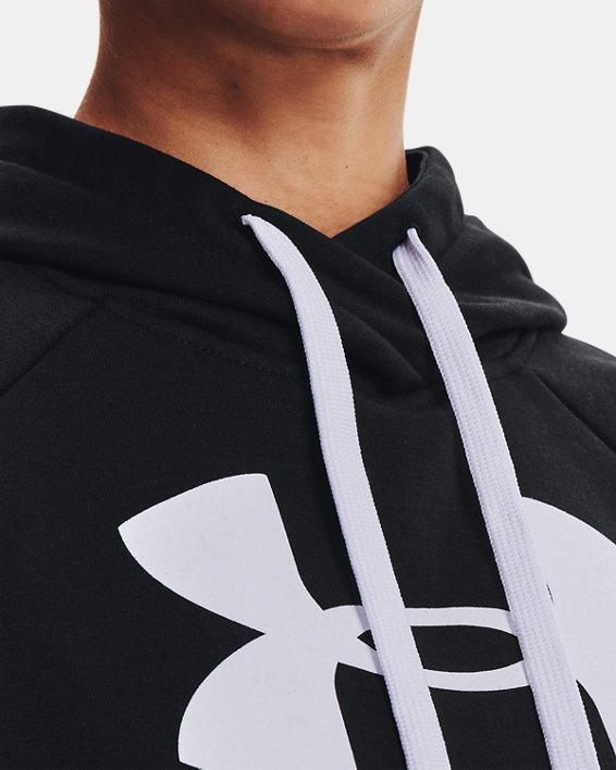 Women's UA Rival Fleece Logo Hoodie, Black, pdpMainDesktop image number 6