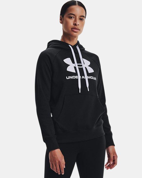 Women's UA Rival Fleece Logo Hoodie, Black, pdpMainDesktop image number 1