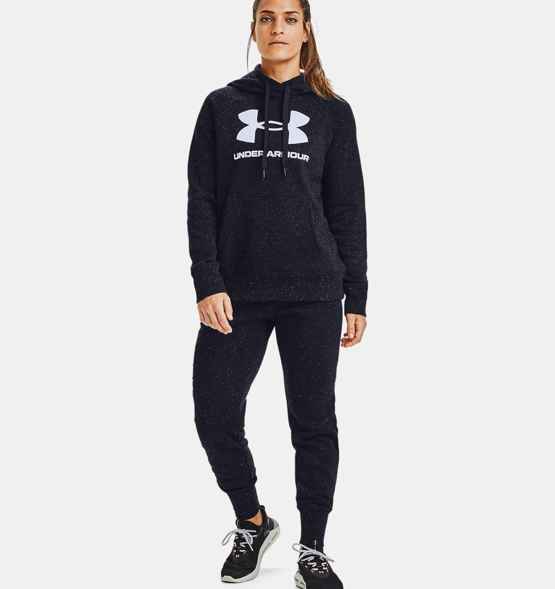 Women's UA Rival Fleece Logo Hoodie, Black, pdpZoomDesktop image number 0