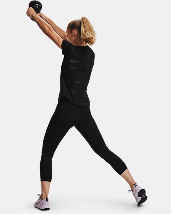 Women's UA RUSH™ Side Piping Crop, Black, pdpMainDesktop image number 6
