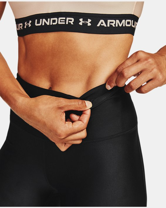 Women's HeatGear® Armour Wordmark 7/8 Leggings, Black, pdpMainDesktop image number 6