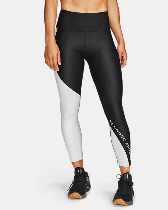 Women's HeatGear® Armour Wordmark 7/8 Leggings, Black, pdpMainDesktop image number 1