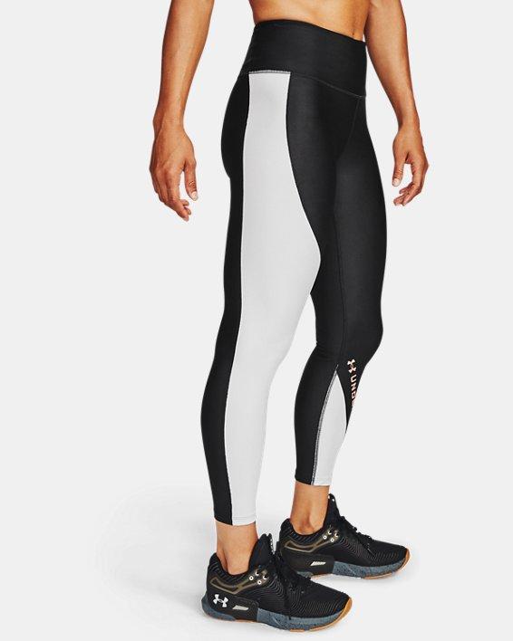 Women's HeatGear® Armour Wordmark 7/8 Leggings, Black, pdpMainDesktop image number 3
