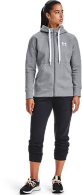 L or XL Under Armour Womens Big Logo Full Zip Hoodie Black or Grey Sizes S M