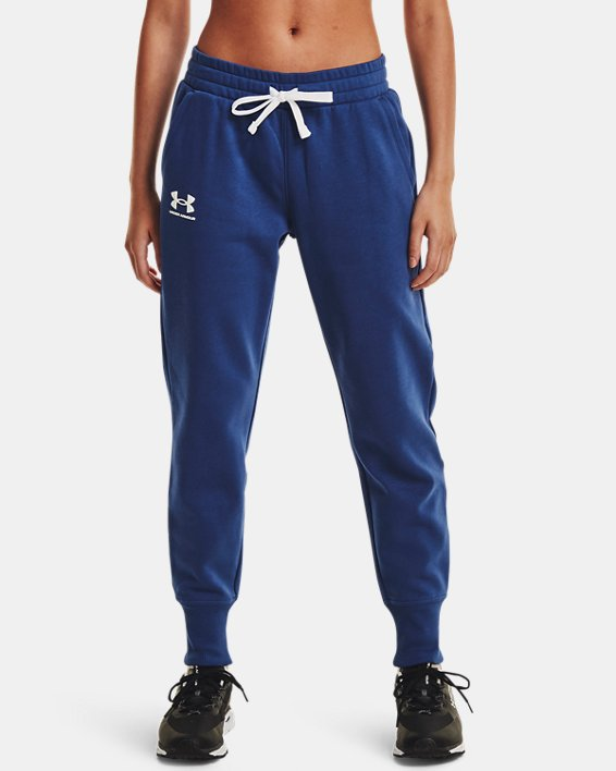 Women's UA Rival Fleece Joggers, Blue, pdpMainDesktop image number 1