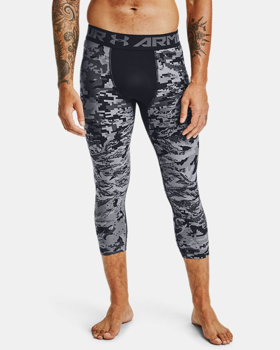 Men's HeatGear® Printed ¾ Leggings, Black, pdpMainDesktop image number 0