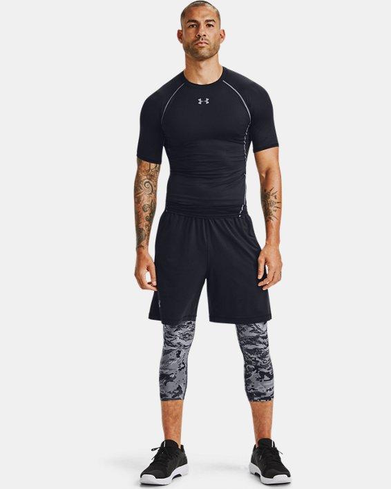 Men's HeatGear® Printed ¾ Leggings, Black, pdpMainDesktop image number 1
