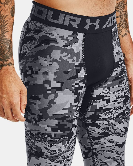 Men's HeatGear® Printed ¾ Leggings, Black, pdpMainDesktop image number 3