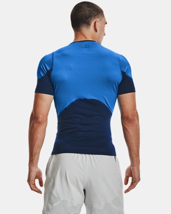 Men's UA RUSH™ HeatGear® 2.0 Compression Short Sleeve, Blue, pdpMainDesktop image number 2