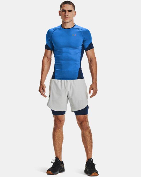 Men's UA RUSH™ HeatGear® 2.0 Compression Short Sleeve, Blue, pdpMainDesktop image number 0