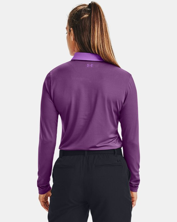 Women's UA Zinger Long Sleeve Polo, Purple, pdpMainDesktop image number 2