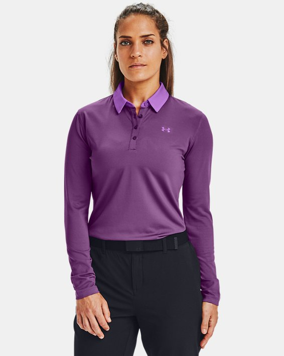 Women's UA Zinger Long Sleeve Polo, Purple, pdpMainDesktop image number 0